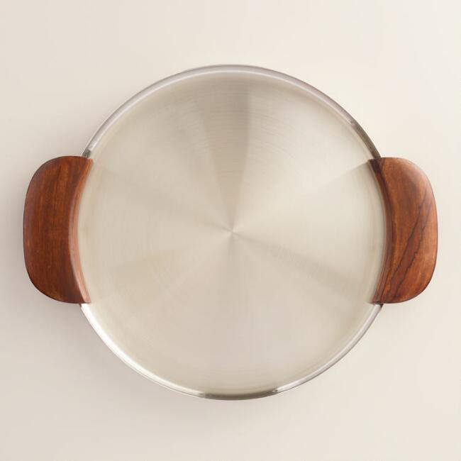 Round Hammered Silver with Wood Serving Tray