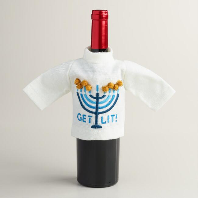 Get Lit Hanukkah Wine Bottle Outfits, Set of 2