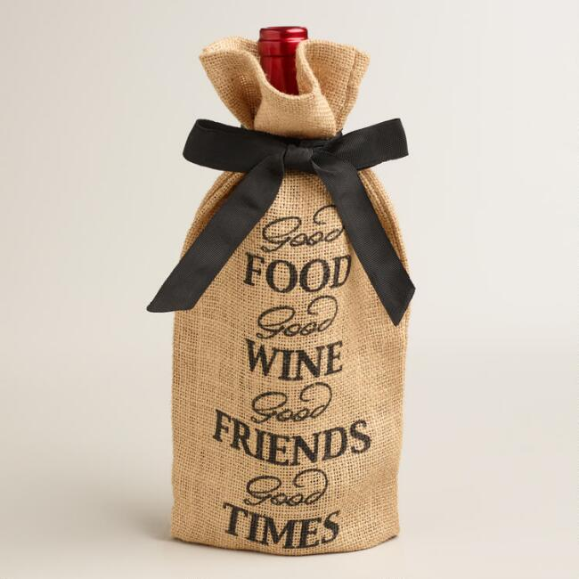 Friends Jute Wine Bags, Set of 2