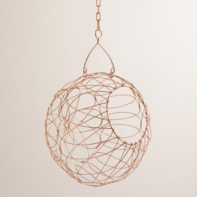 Copper Woven Iron Orb Hanging Basket