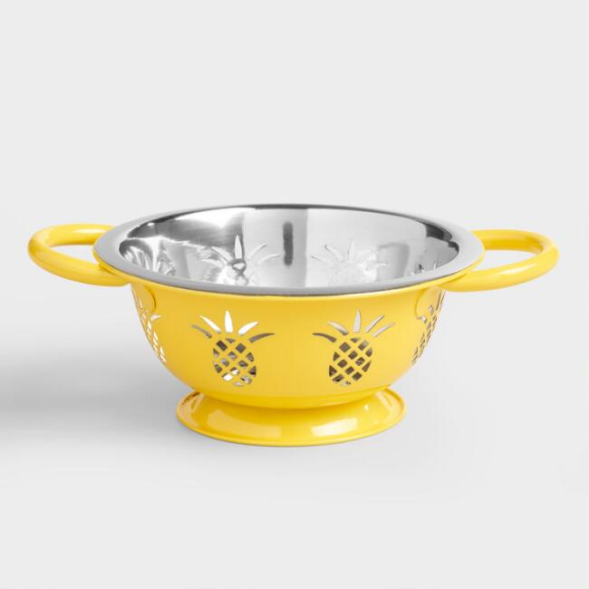 Yellow Pineapple Stainless Steel Colander Set of 2