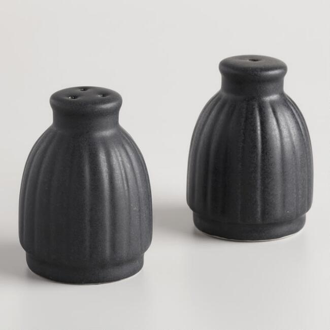Matte Black Ribbed Salt and Pepper Shaker Set