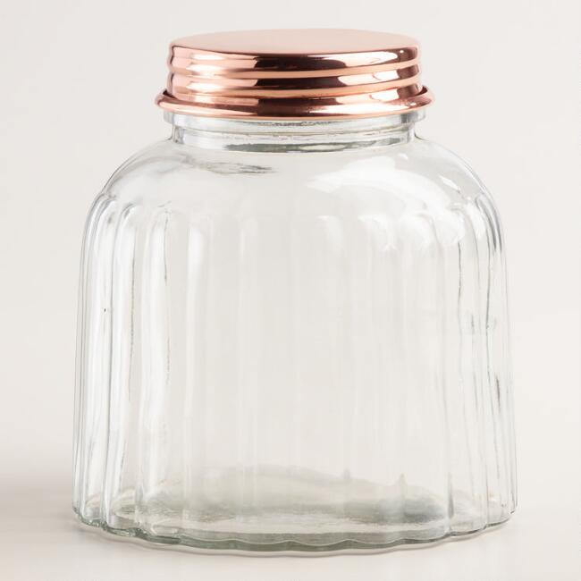 Vintage Style Ribbed Glass Jar with Copper Lid