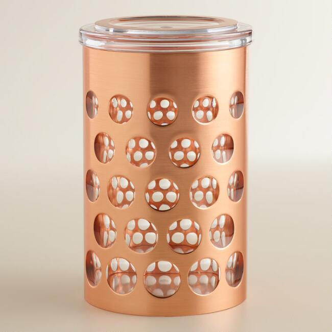 Medium Rose Gold Push Lid Storage Canister