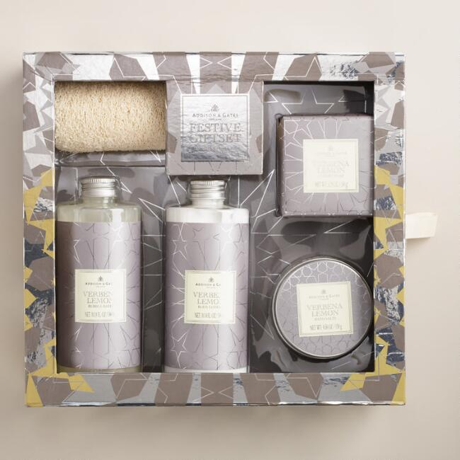 A&G Metallic Lemon Verbena 5-Piece Bath Gift Set