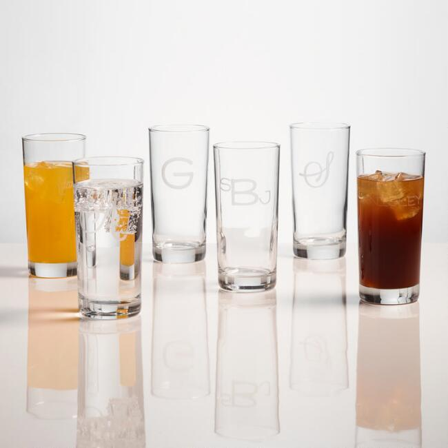 Monogram Highball Glasses, Set of 4