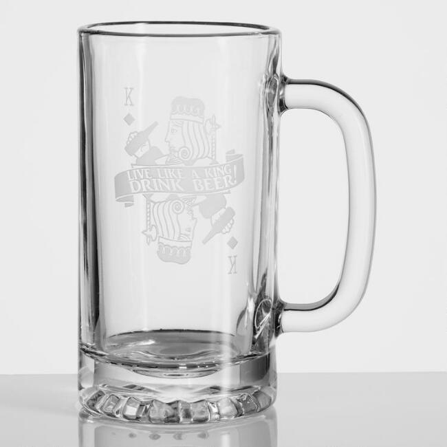 Drink Like a King Etched Beer Mugs Set of 4