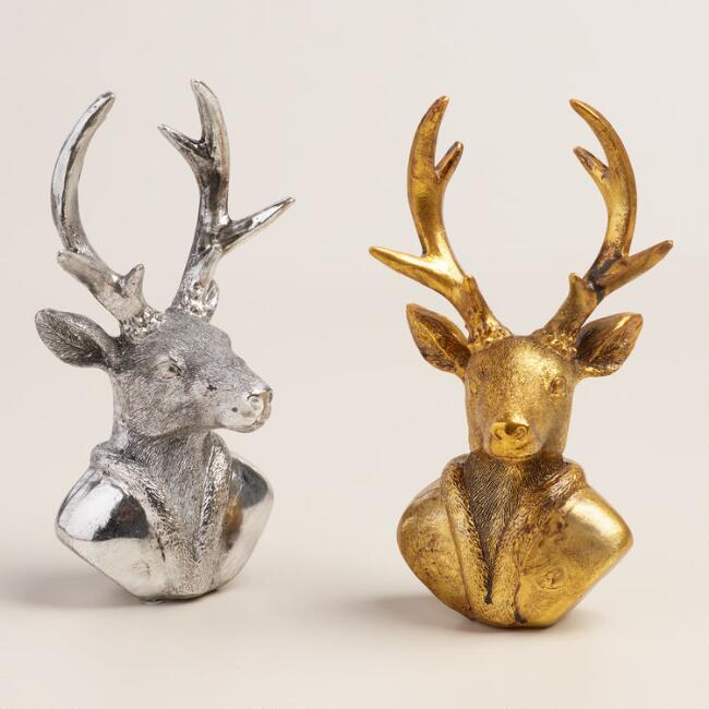 Metallic Tabletop Stag Busts, Set of 2