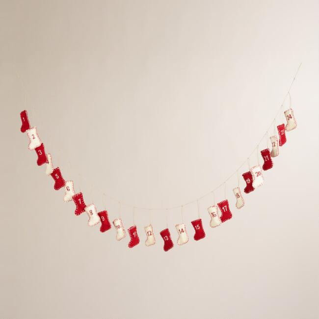 Felt Stocking Advent Calendar Garland