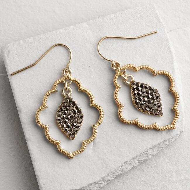 Gold Scalloped Pave Dangle Earrings