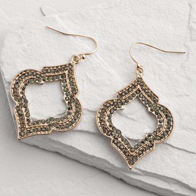 Gold and Black Diamond Lantern Drop Earrings