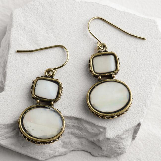 Gold Mother of Pearl Double Drop Earrings