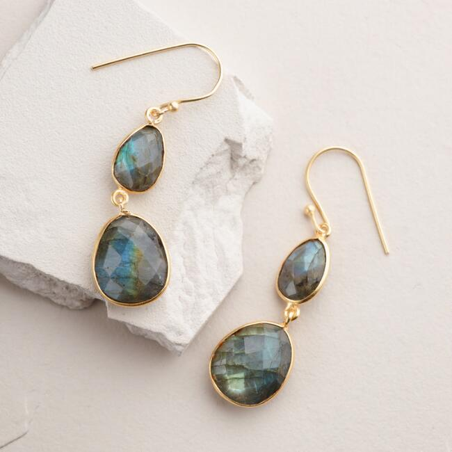 Gold Labradorite Double Drop Earrings