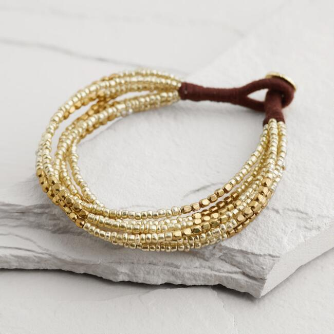 Gold and Silver Multi-Strand Beaded Friendship Bracelet
