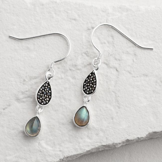Gold Pave Labradorite Double Drop Earrings