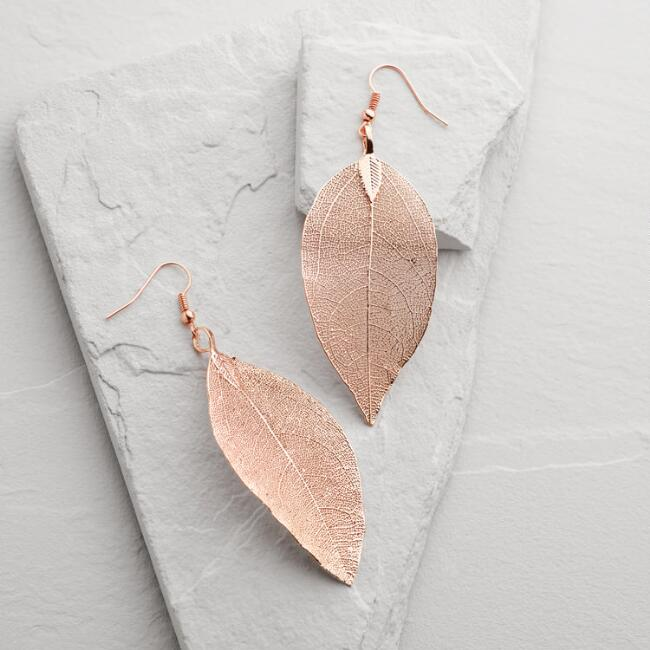 Rose Gold Leaf Drop Earrings
