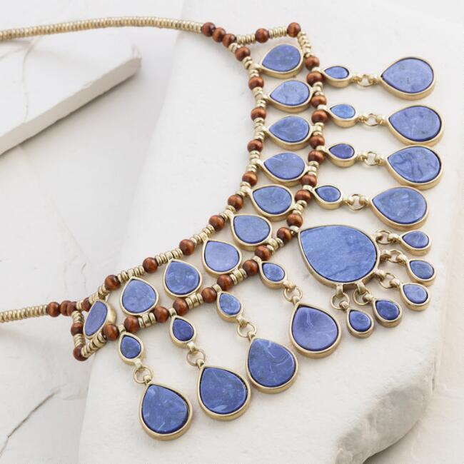 Gold and Blue Layered Teardrop Statement Necklace