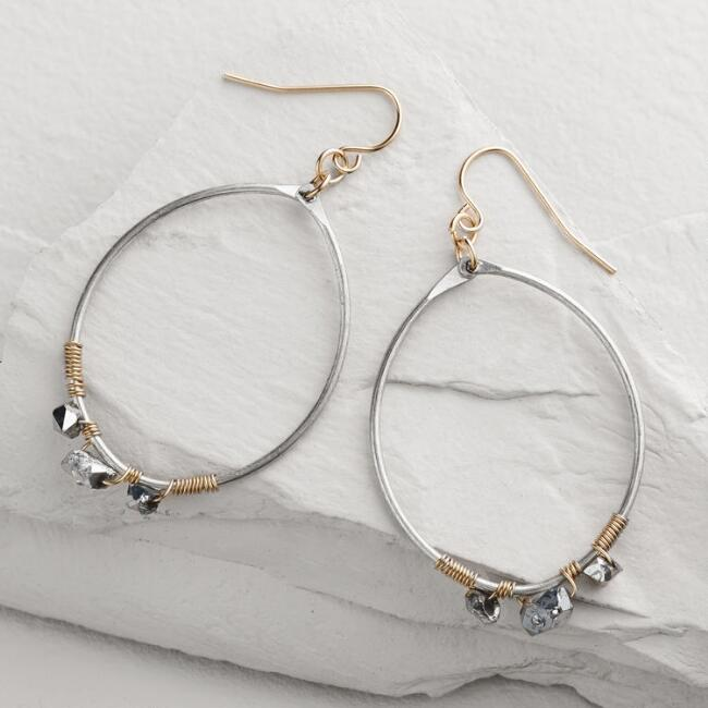 Silver Quartz Drop Hoop Earrings