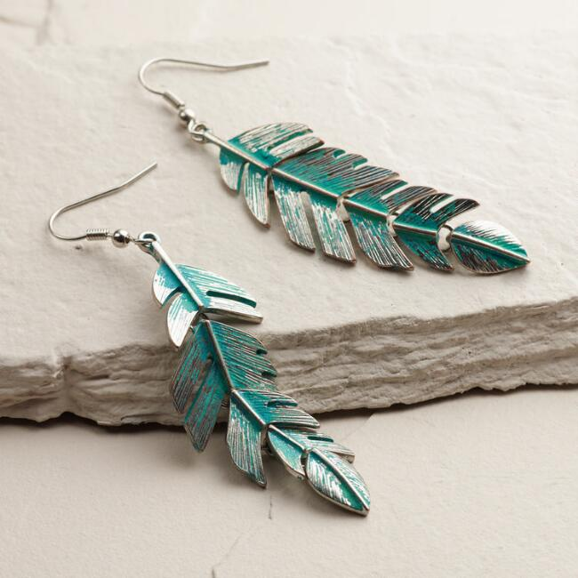 Silver Patina Leaf Drop Earrings