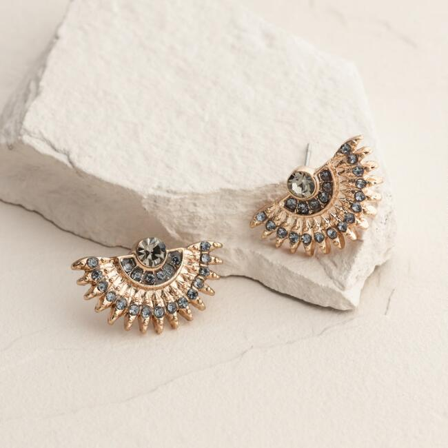 Gold and Rhinestone Fan Stud Earrings
