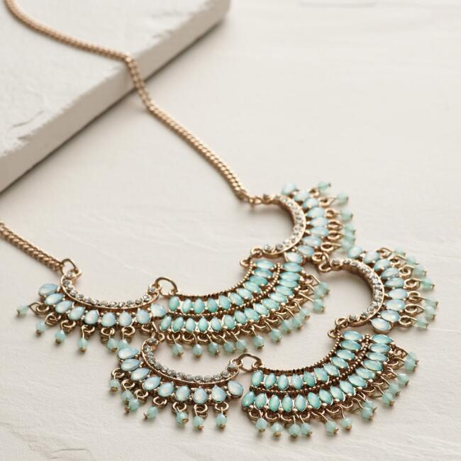 Gold and Mint Scalloped Beaded Statement Necklace