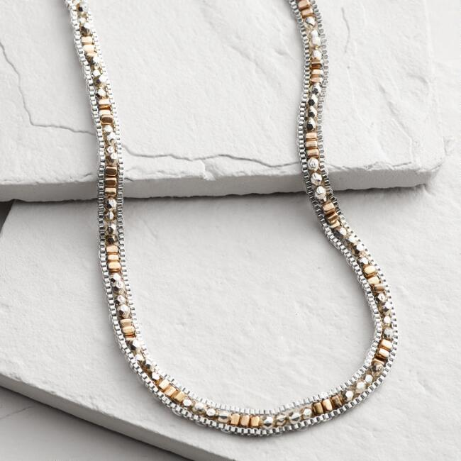 Gold and Silver Beaded Chain Wrap Bracelet