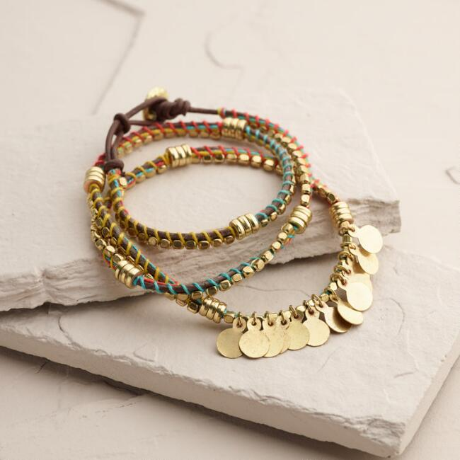 Gold Threaded Coin Wrap Bracelet