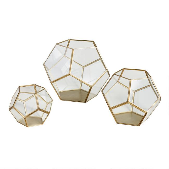 Brass Geo Terrarium Medium