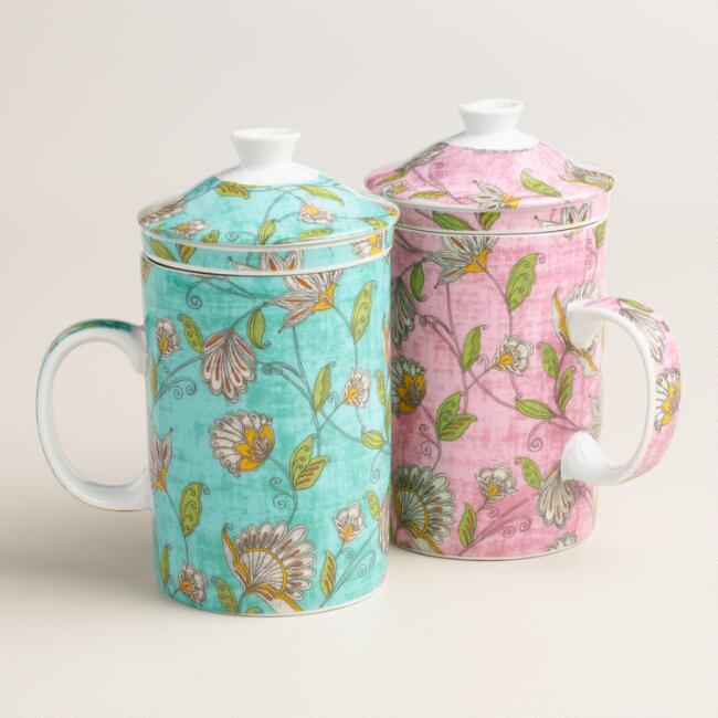 Pip Floral Ceramic Infuser Mug, Set of 2