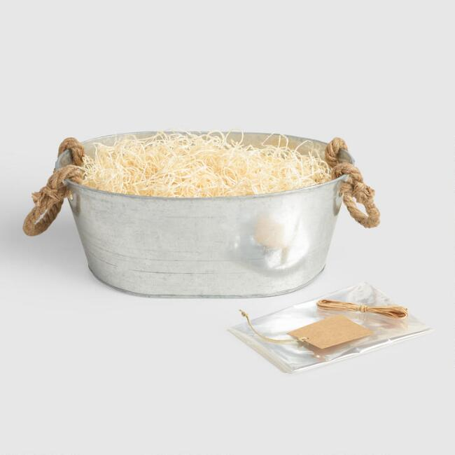 Oval Galvanized Basket Kit with Rope Handles