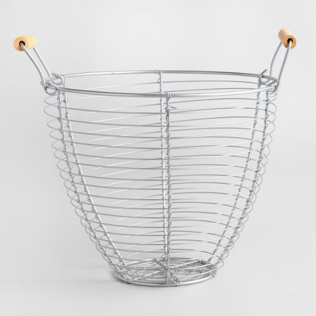 Round Galvanized Metal Basket