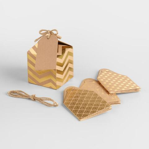 Small Gold Foil Gift Boxes Set Of 8