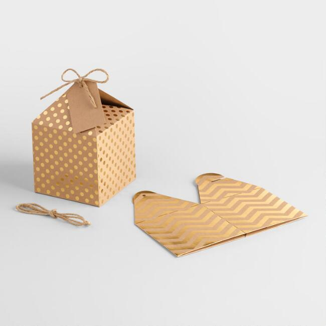 Medium Gold Foil Kraft Gift Boxes, Set of 4