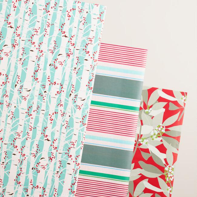 Branches and Stripes Wrapping Paper Rolls, 3 Pack