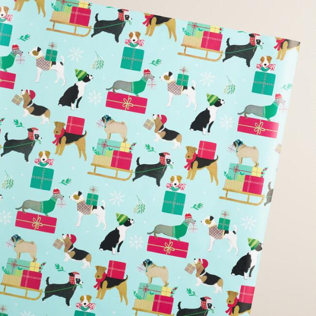Jumbo Holiday Puppies Wrapping Paper Roll