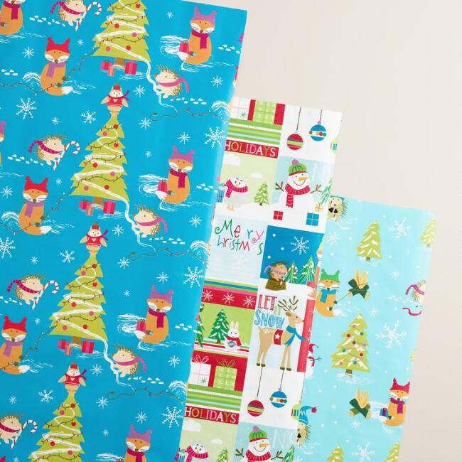 Letters, Squares and Snowflakes Wrapping Paper Rolls, 3-Pack