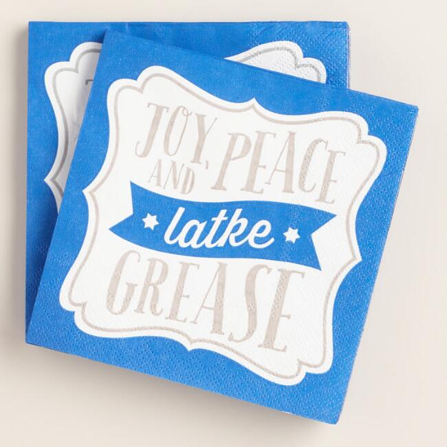 Joy Peace Latke Grease Beverage Napkins, 2-Pack