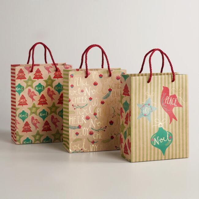 Medium Joy, Peace and Noel Kraft Gift Bags, Set of 3
