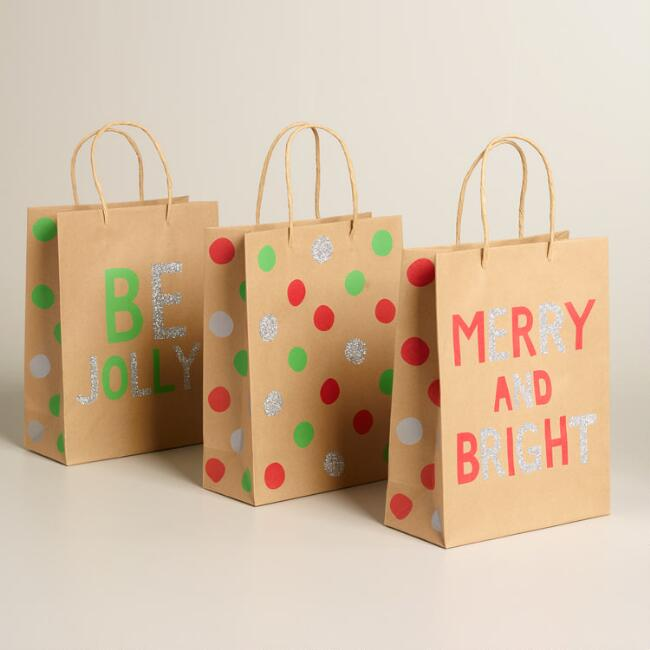 Medium Neon Holiday Kraft Gift Bags, Set of 3
