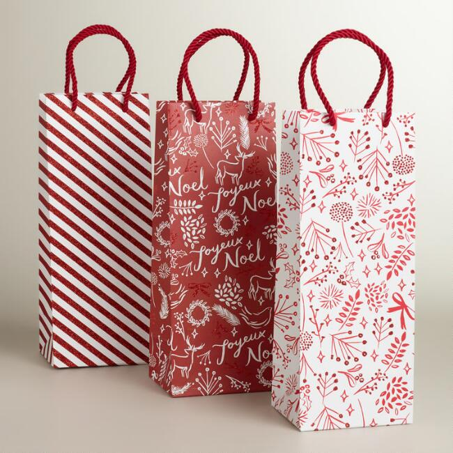 Red and White Wonderland Wine Bags, Set of 3