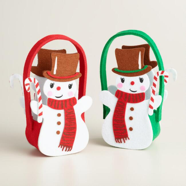 Felt Retro Snowmen Baskets, Set of 2