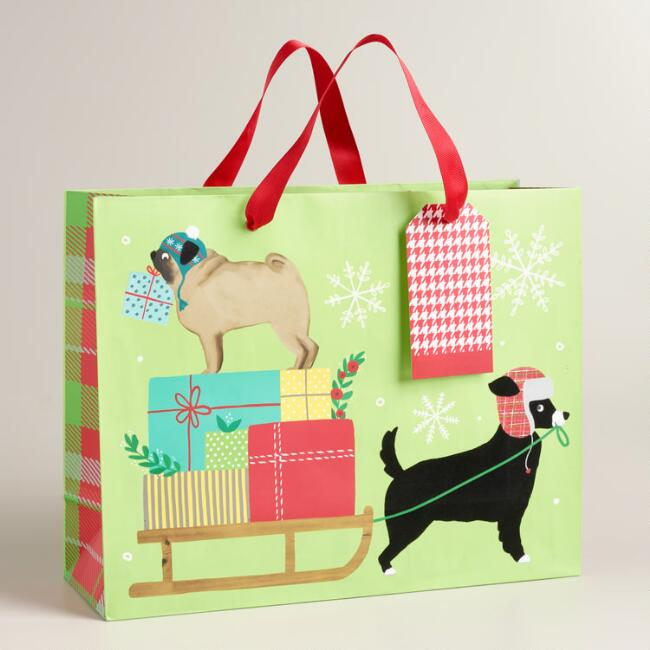 Large Puppies and Sled Gift Bags, Set of 2