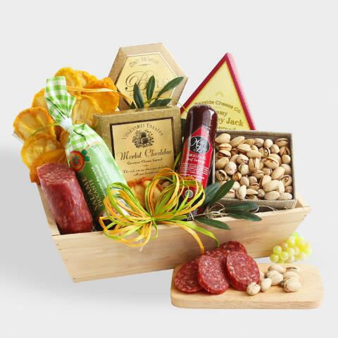 Meat and Cheese Gourmet Gift Basket. v1