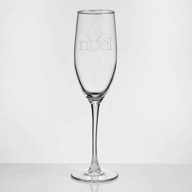 Noel Etched Champagne Flutes, Set of 4