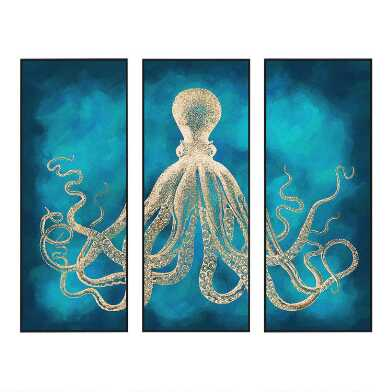Octopus Sea Life Triptych Wall Art 3 Piece