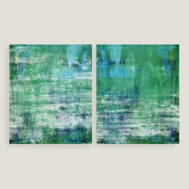 Green and Blue Wall Art Set of 2