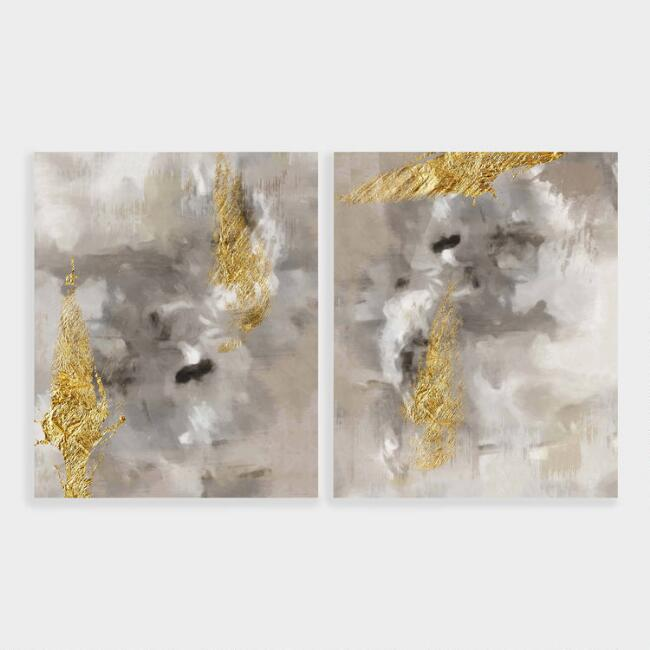 Touch Of Gold I And II Canvas Wall Art 2 Piece