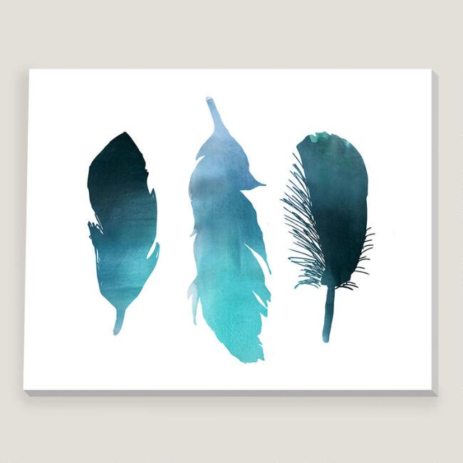 Blue Turquoise Watercolor Bird Feather Wall Art