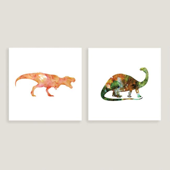 T Rex and Brontosaurus Wall Art, Set of 2
