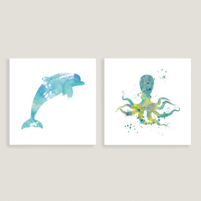 Dolphin I and Octopus I Set of 2